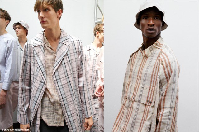 Male models Felix Gesnouin and Adonis Bosso, photographed in plaid menswear, backstage at Duckie Brown S/S15. Photographed by Alexander Thompson for Ponyboy Magazine.