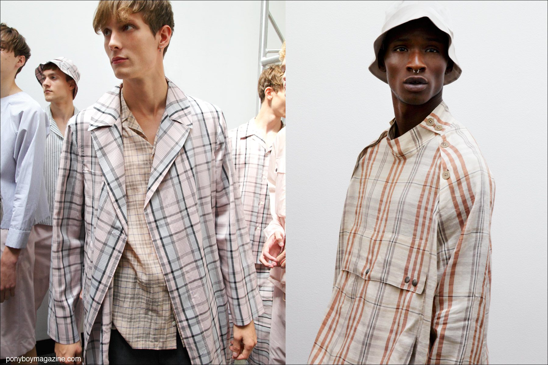 Models Felix Gesnouin and Adonis Bosso, photographed in plaid menswear, backstage at Duckie Brown S/S15. Photographed by Alexander Thompson for Ponyboy Magazine.