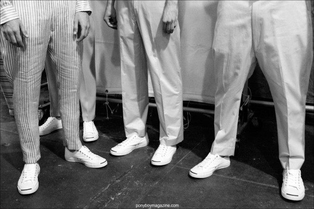 Trousers & Jack Purcell footwear photographed by Alexander Thompson, backstage at Duckie Brown S/S15, for Ponyboy Magazine.