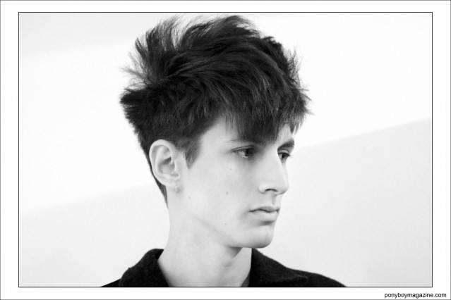 Portrait of male model Henry Kitcher, backstage at Patrik Ervell S/S15 by Alexander Thompson for Ponyboy Magazine.