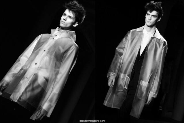 Male models on the runway in frosted raincoats by New York designer Patrik Ervell, Spring/Summer 2015. Photographed at Milk Studios in New York City by Alexander Thompson for Ponyboy Magazine.