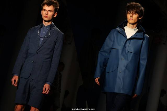 Top male models Karlis Adlers and Adam Butcher walk the runway for Patrik Ervell S/S15 collection at Milk Studios in New York. Photographs by Alexander Thompson for Ponyboy Magazine.