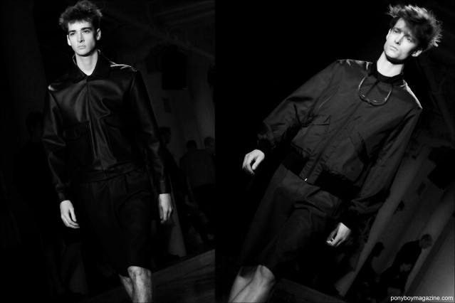 Models Corentin Renault and Laurie Harding walk for Patrik Ervell S/S15 collection at Milk Studios NY. Photographs by Alexander Thompson for Ponyboy Magazine.
