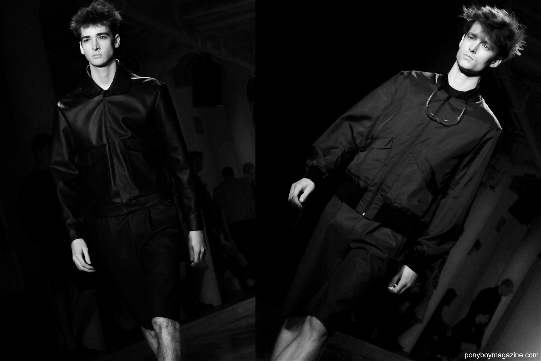 Models Corentin Renault and Laurie Harding walk for Patrik Ervell S/S15 collection at Milk Studios. Photographs by Alexander Thompson for Ponyboy Magazine.
