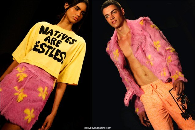 70's inspired fashions for men and women at Jeremy Scott Spring/Summer 2015 runway show. Photographs by Alexander Thompson for Ponyboy Magazine.