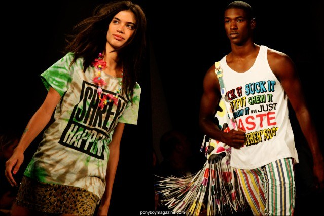 Graphic t-shirts on models at Jeremy Scott Spring/Summer 2015 runway show at Milk Studios. Photographed by Alexander Thompson for Ponyboy Magazine in New York City.