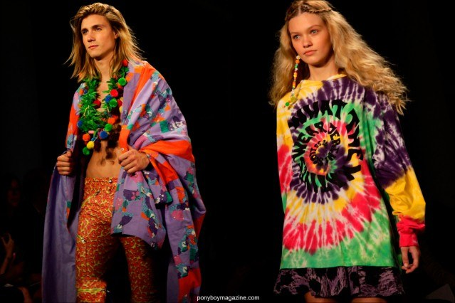 Colorful hippie inspired clothing at Jeremy Scott Spring/Summer 2015. Photographed by Alexander Thompson in New York City.