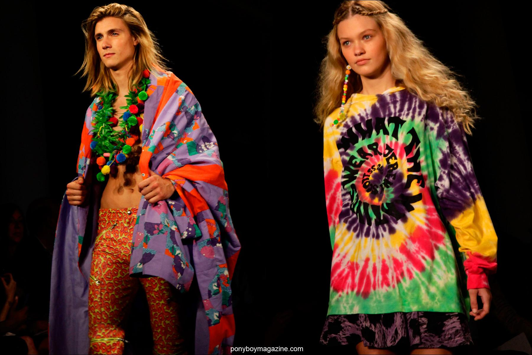 Colorful hippie clothing created by Jeremy Scott Spring/Summer 2015. Shown at Milk Studios in New York City. Photographed by Alexander Thompson for Ponyboy Magazine.