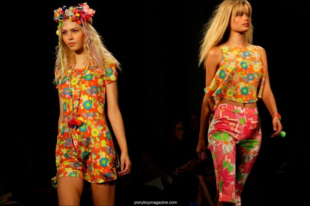 Models in colorful creations by Jeremy Scott Spring/Summer 2015. Photos by Alexander Thompson for Ponyboy Magazine.