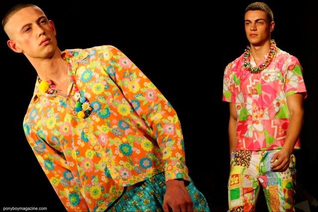 Male model Paul Carrigan on the runway in 60's-70's inspired clothing by Jeremy Scott Spring/Summer 2015. Photographs by Alexander Thompson for Ponyboy Magazine.