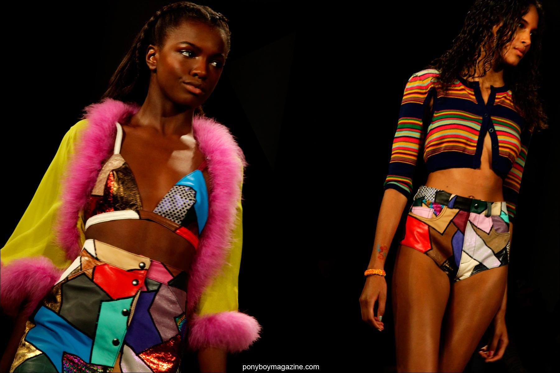 Colorful women's creations by Jeremy Scott Spring/Summer 2015 collection. Photos by Alexander Thompson for Ponyboy Magazine.