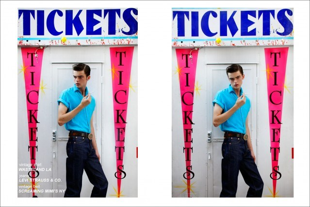 Fusion NY model Mike Winchester, photographed by Alexander Thompson for Ponyboy Magazine men's rockabilly editorial.