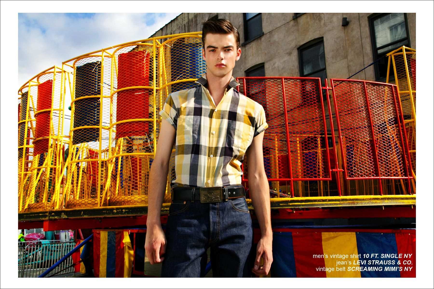 Fusion male model Mike Winchester, photographed in Williamsburg, NY by Alexander Thompson for Ponyboy Magazine men's rockabilly editorial.