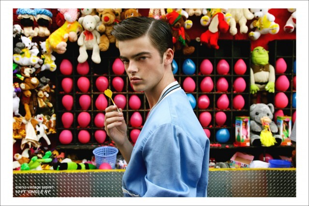 """Fusion model Mike Winchester stars in Ponyboy Magazine men's rockabilly editorial """"Carny Time"""". Photographed by Alexander Thompson."""