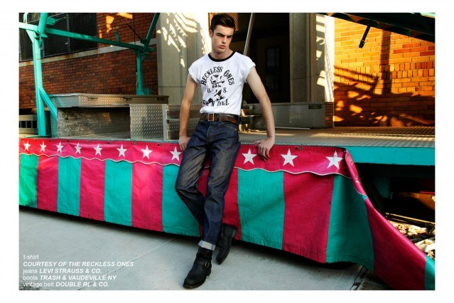 Model Mike Winchester, from Fusion Models NY, wears a Reckless Ones t-shirt for a Ponyboy Magazine men's rockabilly editorial. Photographed by Alexander Thompson in New York City.