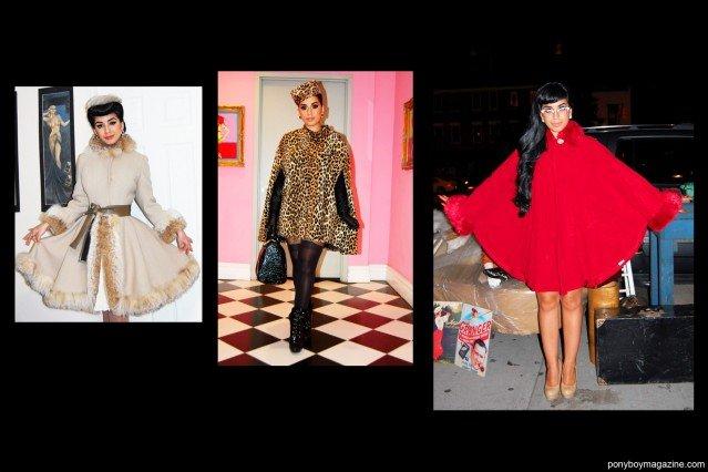 "Vintage coats worn by Jasmin ""Vintage Vandal"" Rodriguez. Ponyboy Magazine."