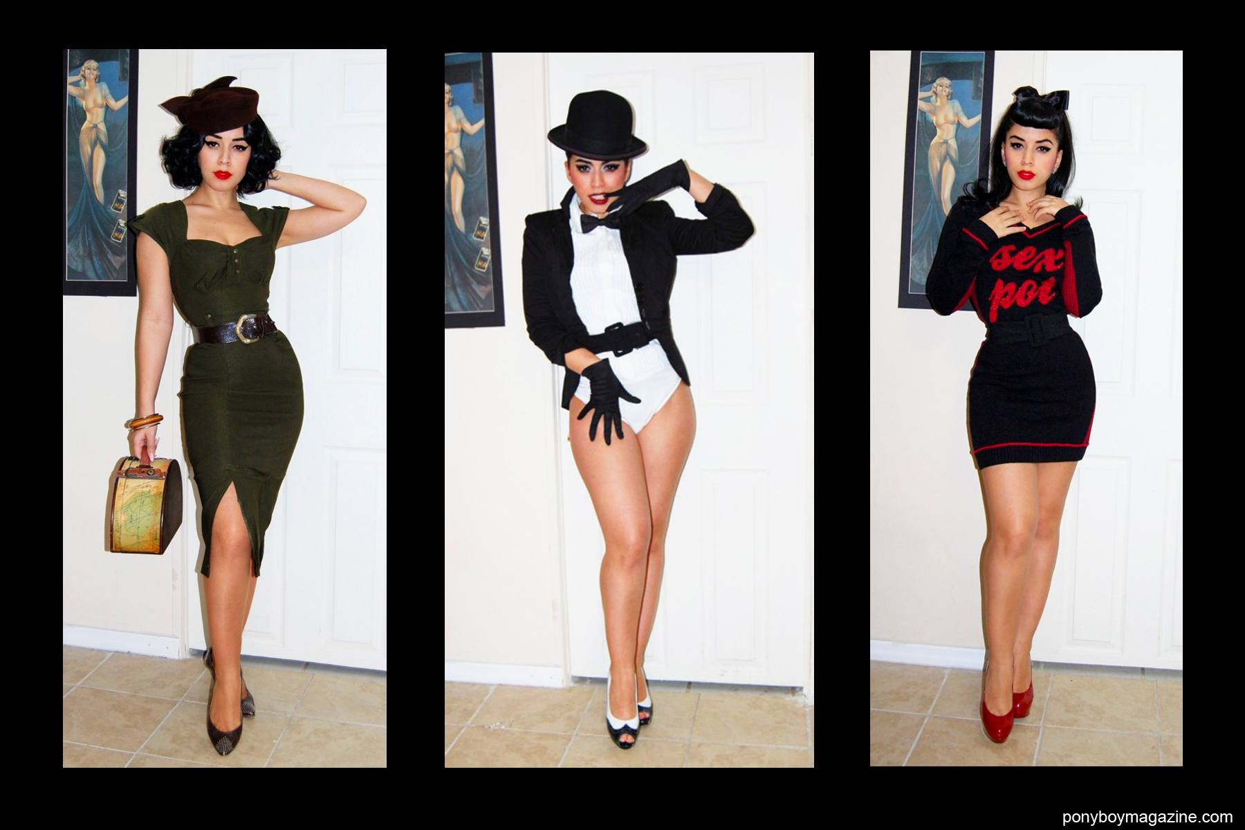 Different vintage inspired looks on Jasmin