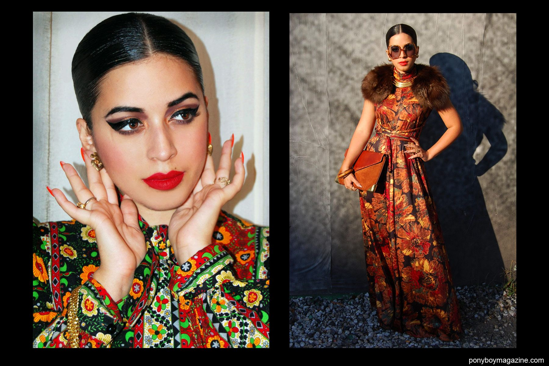 Jasmine Rodriguez, also known as Vintage Vandal, photographed in chic 70's inspired looks. Ponyboy Magazine New York.