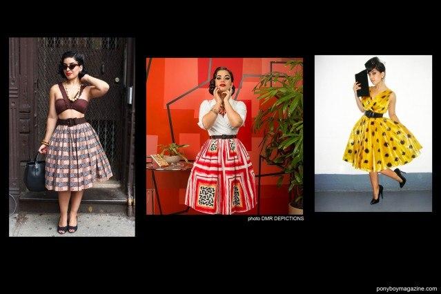 "Jasmin ""Vintage Vandal"" Rodriguez photographed in different 1950's full skirts. Ponyboy Magazine."
