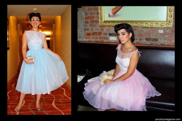 "Jasmin ""Vintage Vandal"" Rodriguez, photographed in 50's party dresses. Ponyboy Magazine."