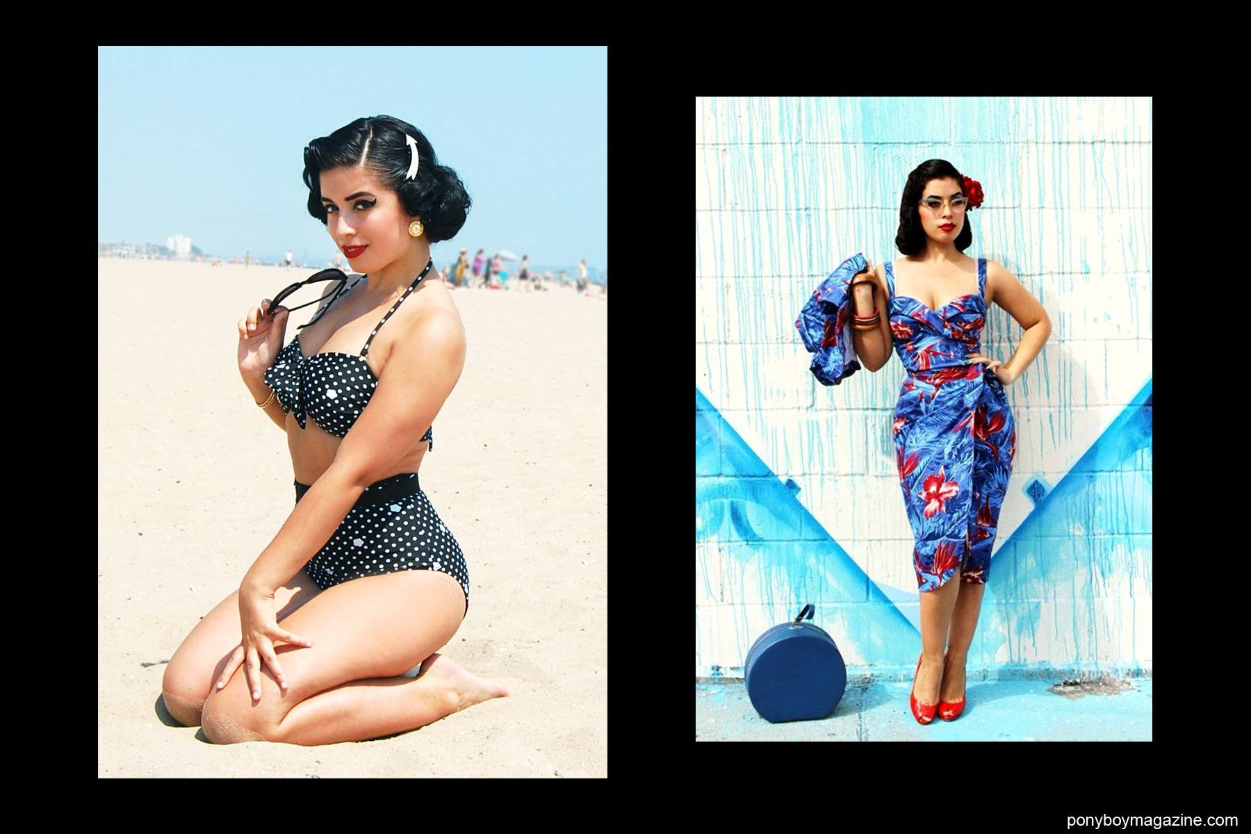 Beach photos of Jasmin Rodriguez, also known as Vintage Vandal. Ponyboy Magazine NY.