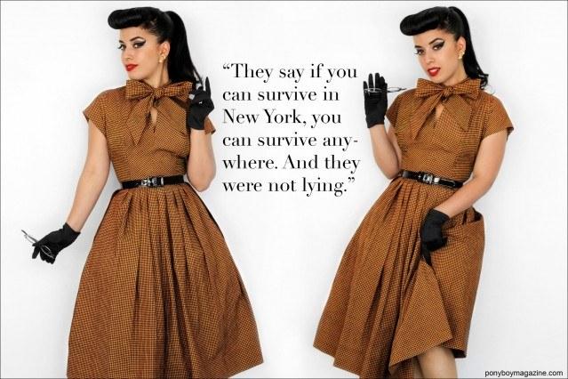Vintage Vandal wears a 50's vintage full-skirted dress. Photographed by Alexander Thompson for Ponyboy Magazine.