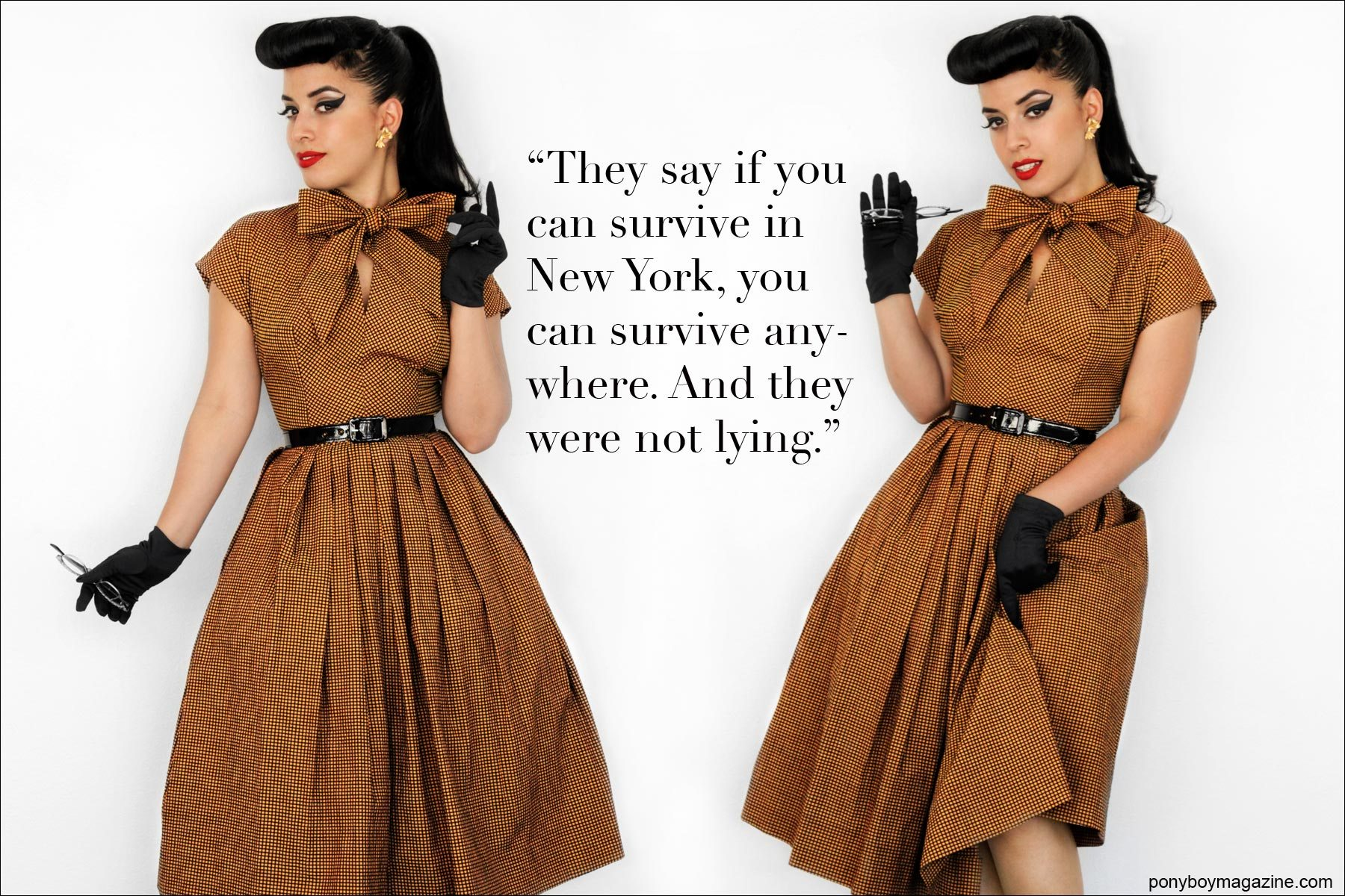 Vintage Vandal wears a 1950's vintage full-skirted dress. Photographed by Alexander Thompson for Ponyboy Magazine.