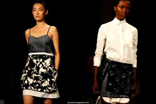 Models in black and white clothing on the runway for Peter Som S/S15. Photographed at Milk Studios by Alexander Thompson for Ponyboy Magazine.