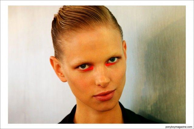 Fushion NY model Lina Berg, photographed backstage at Peter Som S/S15. Photograph by Alexander Thompson for Ponyboy Magazine.