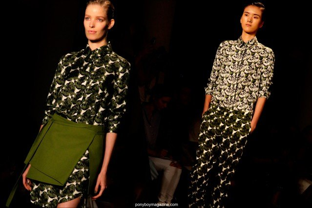 Models wear graphic patterns on the Peter Som S/S15 runway. Photographed by Alexander Thompson for Ponyboy Magazine.