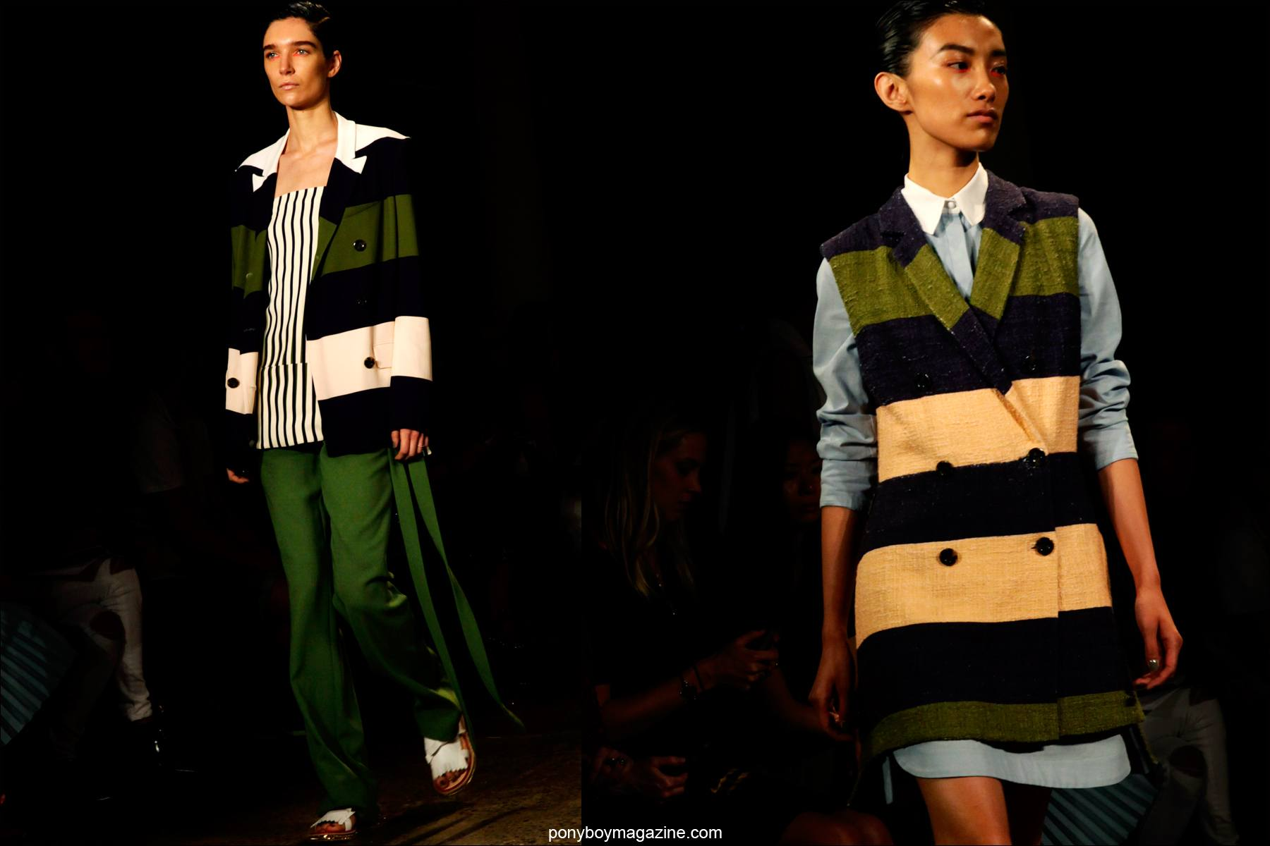 Striped clothing on models at the Peter Som S/S15 runway show at Milk Studios NY. Photographs by Alexander Thompson for Ponyboy Magazine.