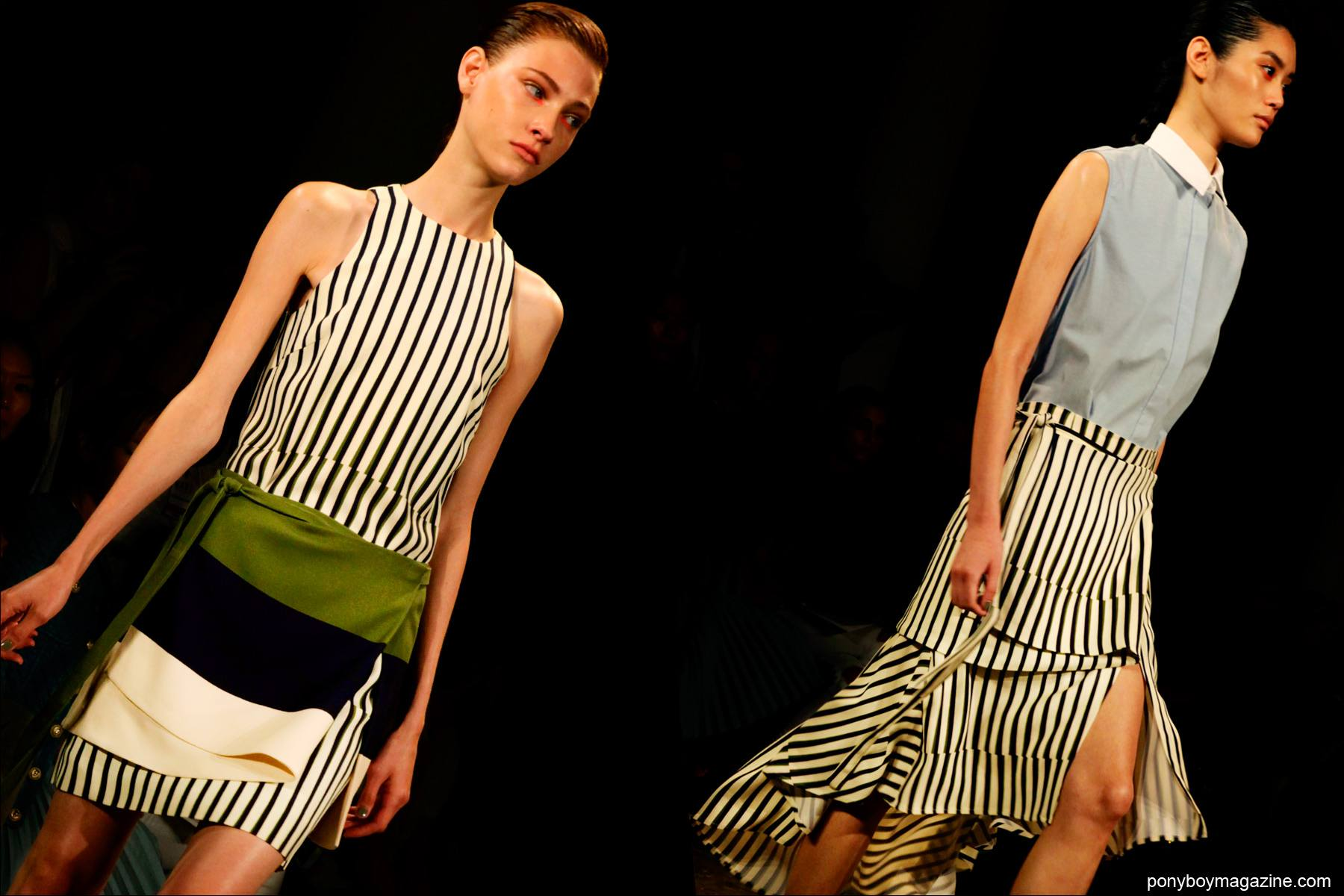 Models on the runway in striped creations, designed by Peter Som S/S15. Photos by Alexander Thompson for Ponyboy Magazine.