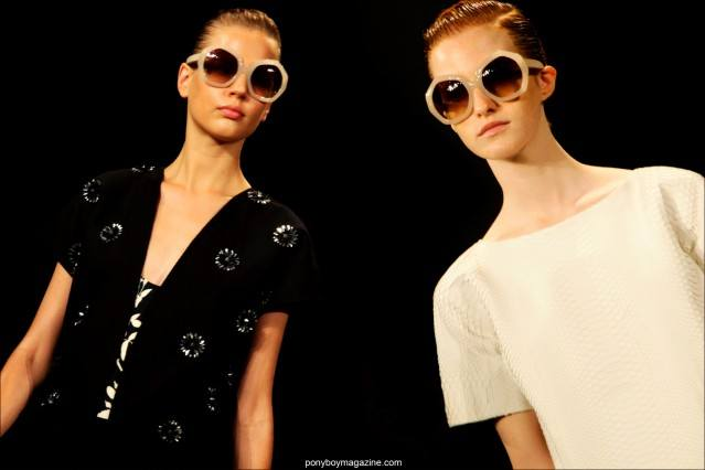 Models wear oversized sunglasses on the Peter Som S/S15 runway at Milk Studios in New York. Photographs by Alexander Thompson for Ponyboy Magazine.