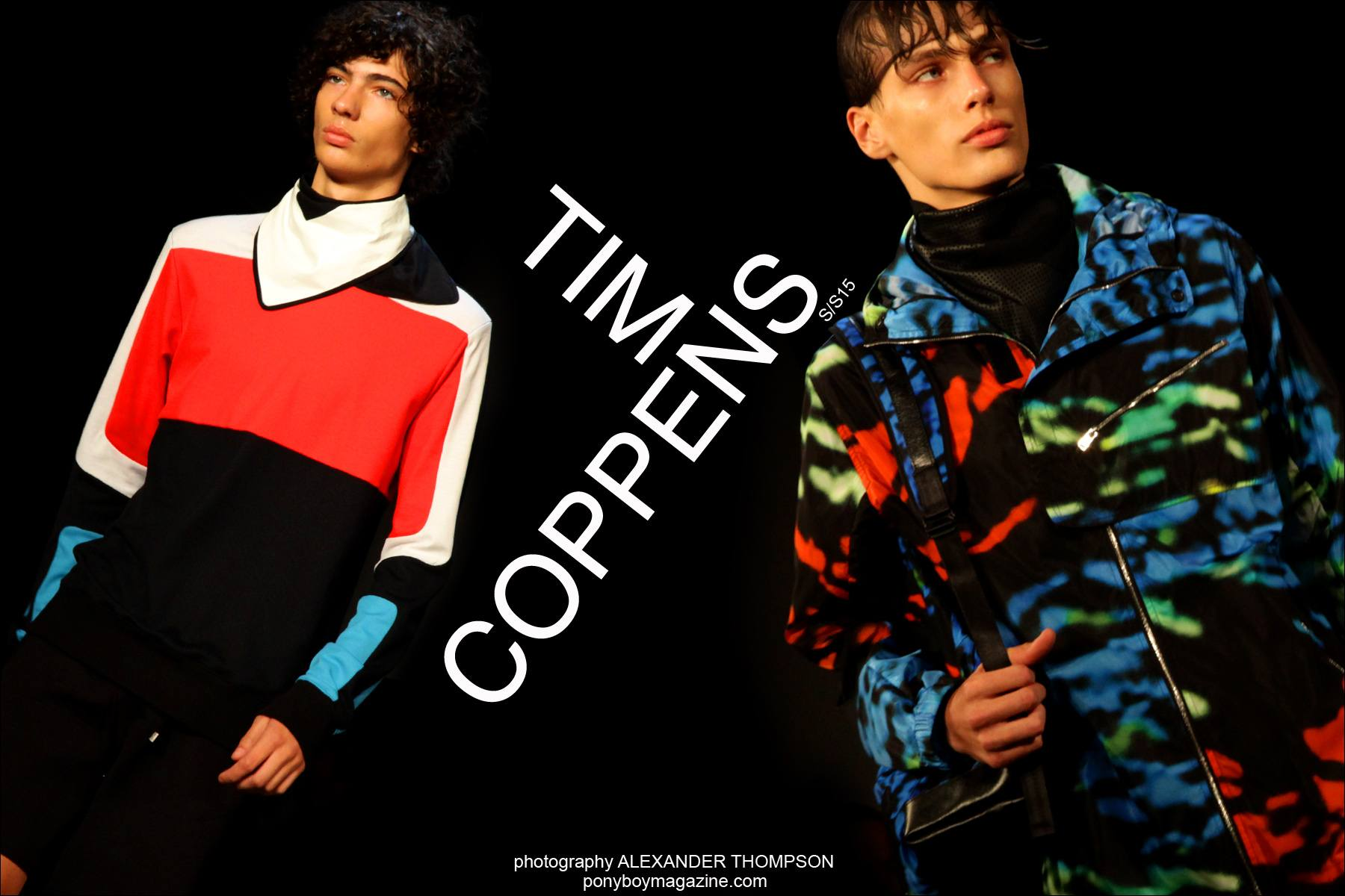 Models Piero Mendez and Marc Schulze walk in the Tim Coppens Spring/Summer 2015 collection shown at Milk Studios in New York City. Photographs by Alexander Thompson for Ponyboy Magazine.