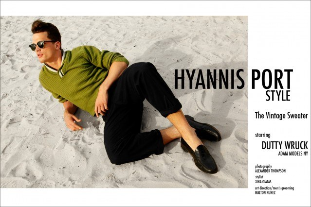 """""""Hyannis Port Style"""", a men's vintage sweater editorial starring Dutty Wruck from Adam Models NY. Photographed by Alexander Thompson in New York City."""