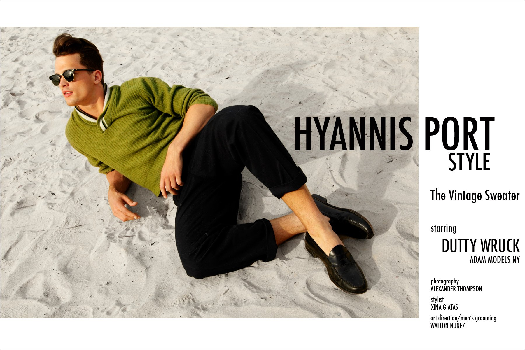 """Hyannis Port Style"", a men's vintage sweater editorial starring Dutty Wruck from Adam Models NY. Photographed by Alexander Thompson in New York City."