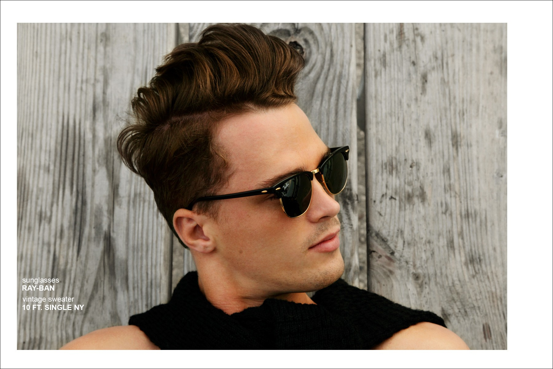 Male model Dutty Wruck wears sunglasses by Ray-Ban. Photographed by Alexander Thompson for Ponyboy Magazine.