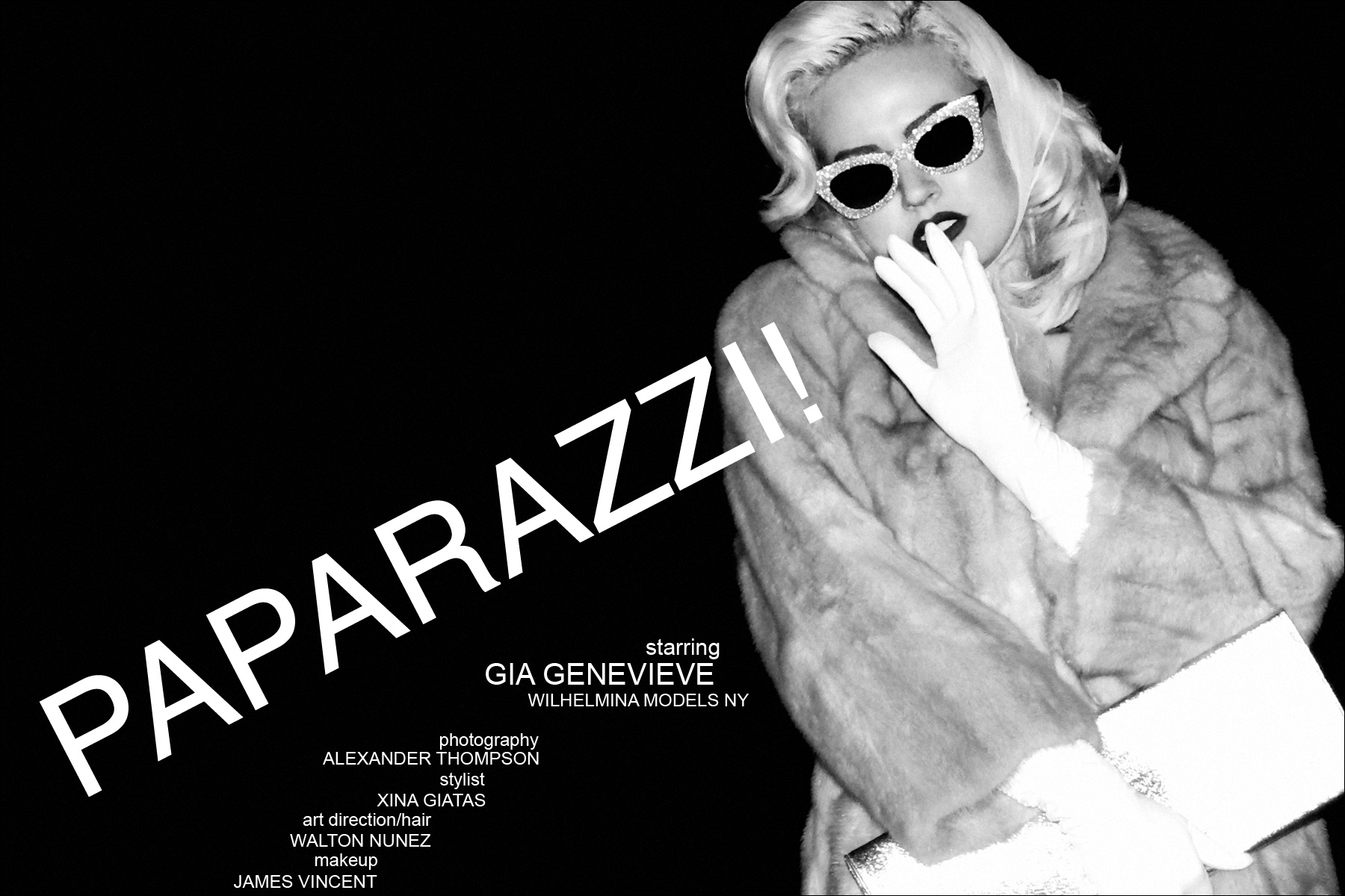 Paparazzi! Ponyboy Magazine women's editorial, starring Miss Gia Genevieve from the Wilhelmina Agency New York. Photographed by Alexander Thomspon.
