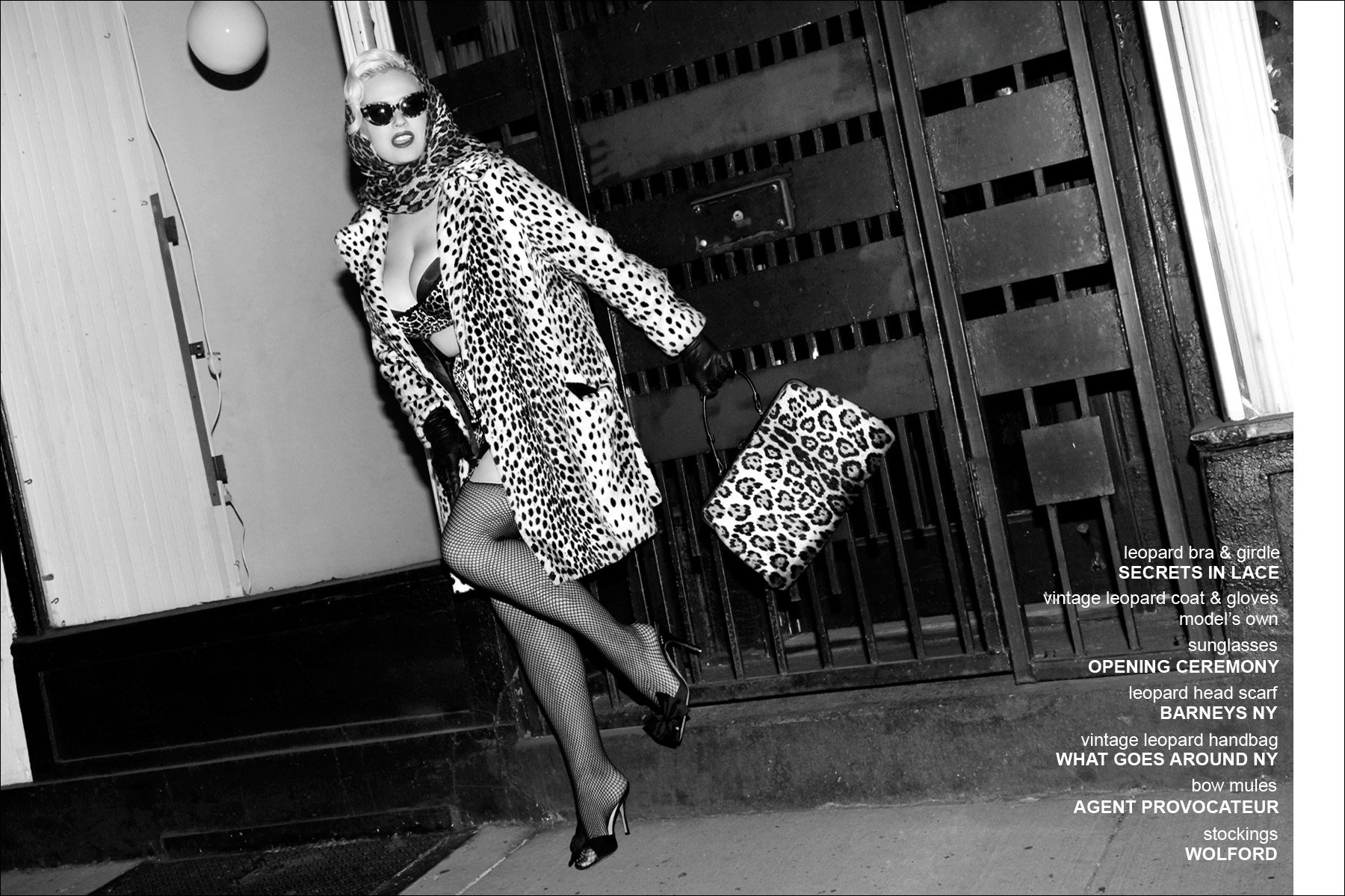A blonde leopard clad Gia Genevieve, photographed for Ponyboy Magazine women's editorial by Alexander Thompson.