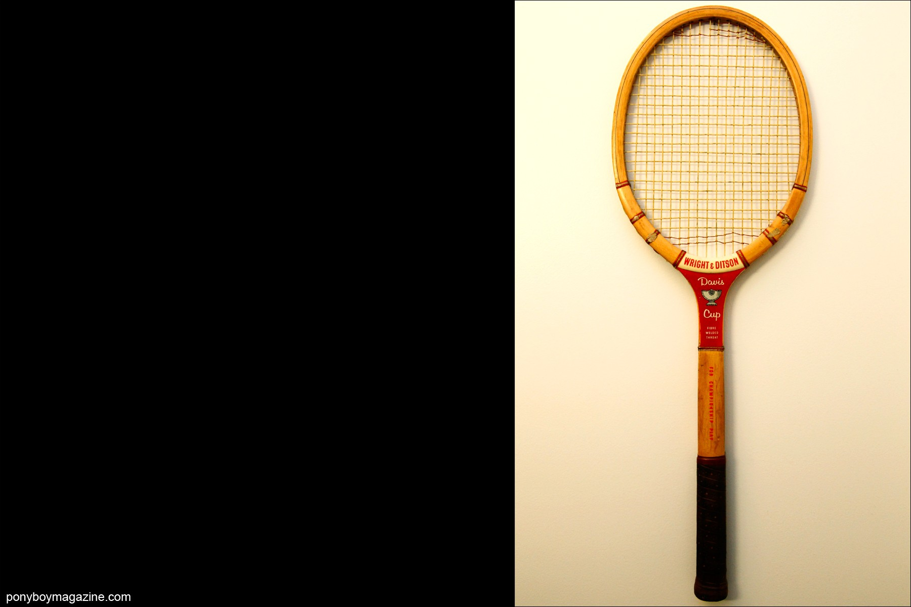 A vintage Davis Cup tennis racket, owned by editor Peter Davis. Photographed for Ponyboy Magazine by Alexander Thompson.