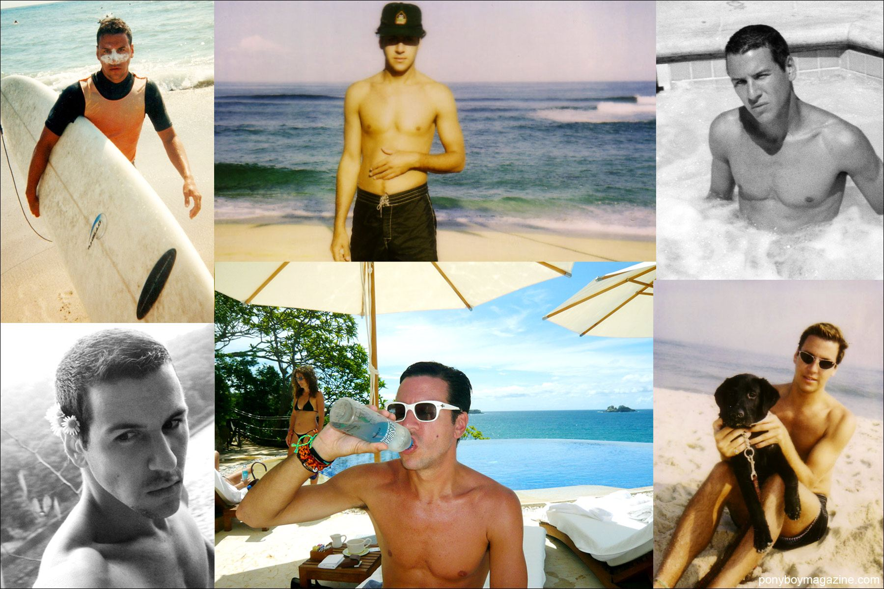 Various beach photos of Peter Davis throughout the years. Ponyboy Magazine.