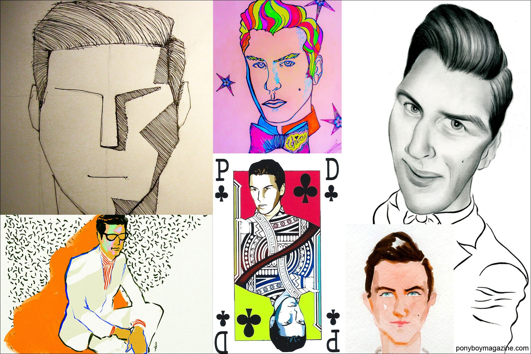 Drawings of socialite Peter Davis. Ponyboy Magazine.