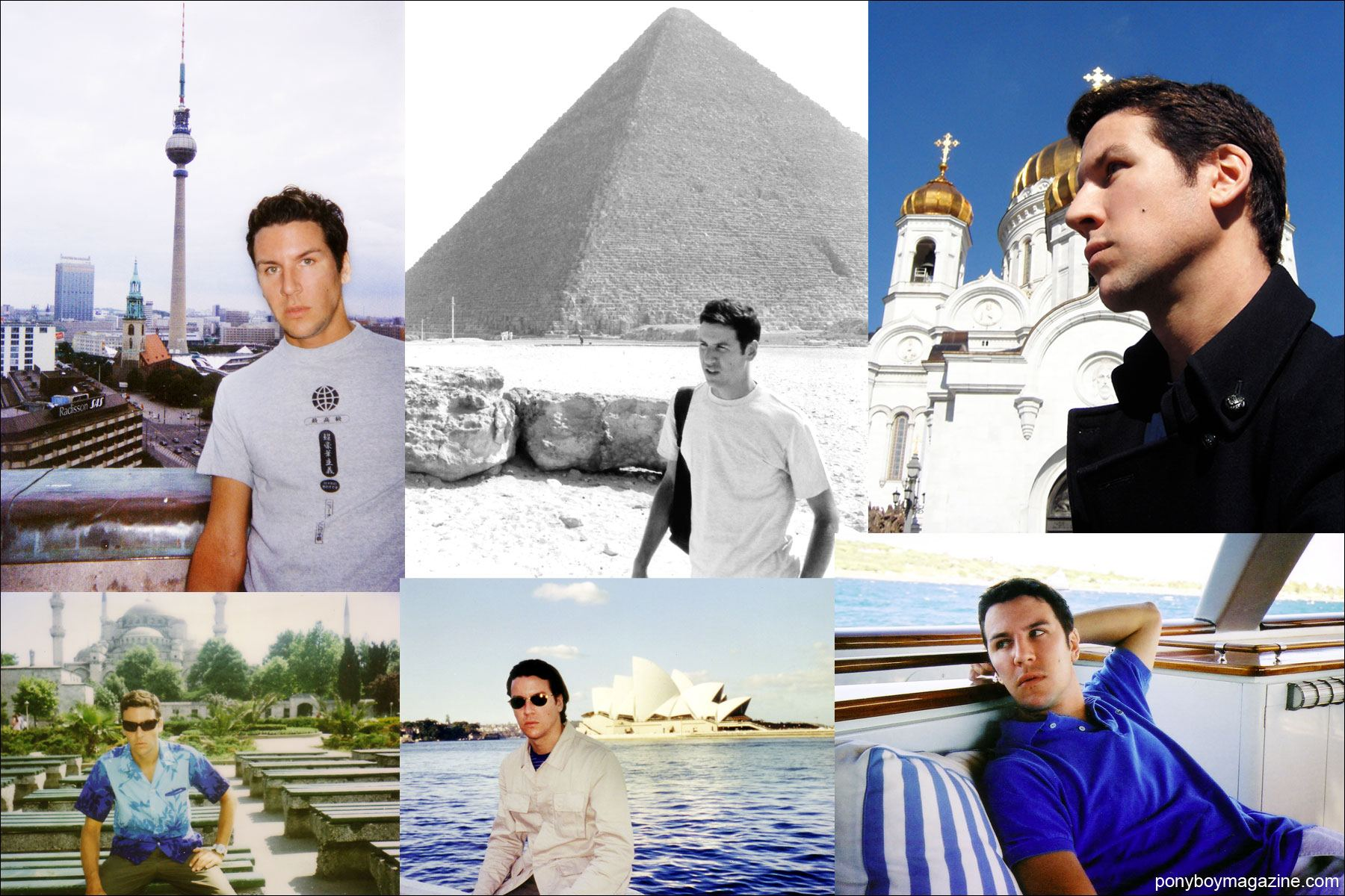 Assorted travel photos of socialite and editor Peter Davis. Ponyboy Magazine.