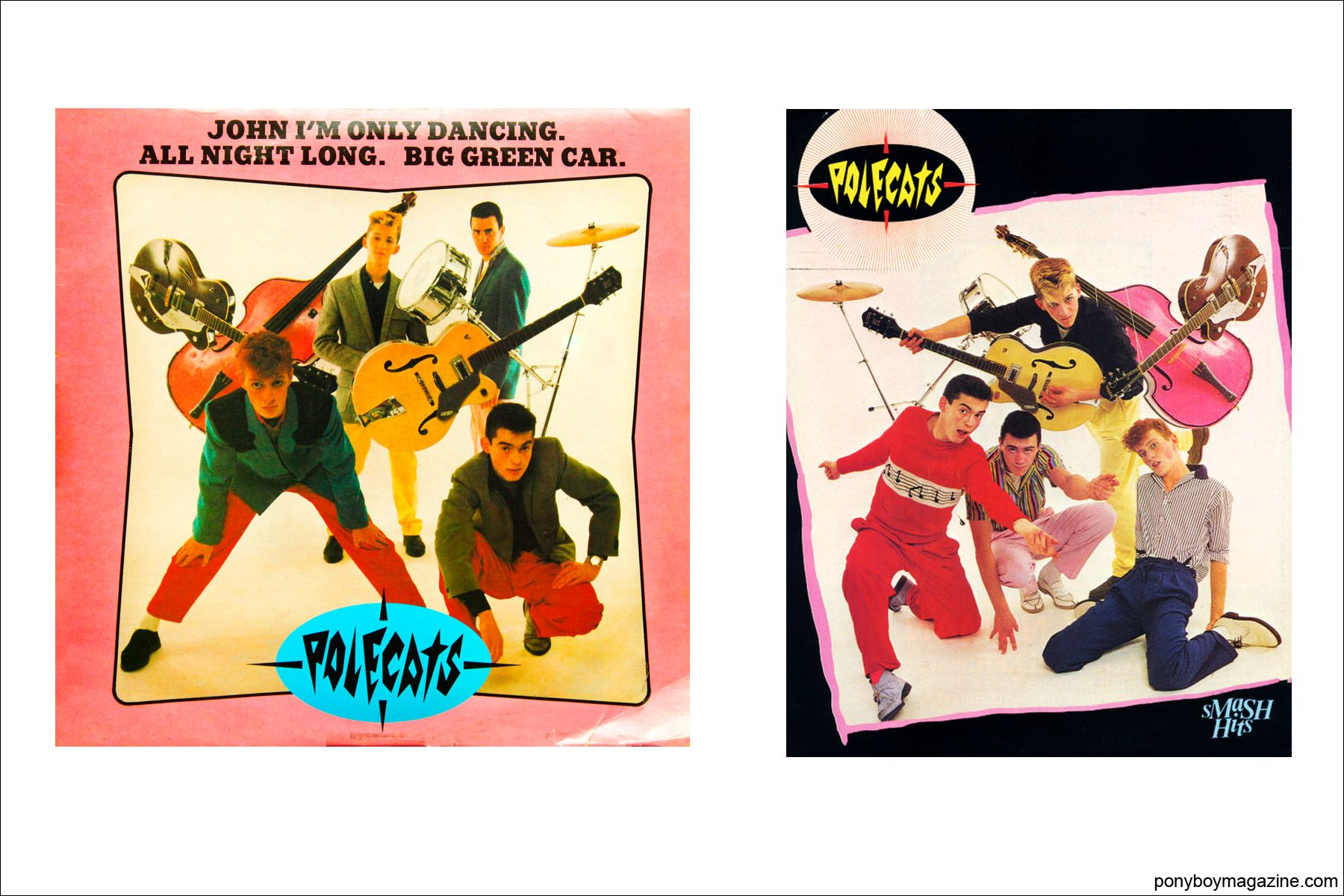 Colorful album covers of neo-rockabilly band Polecats. Ponyboy Magazine in New York City.
