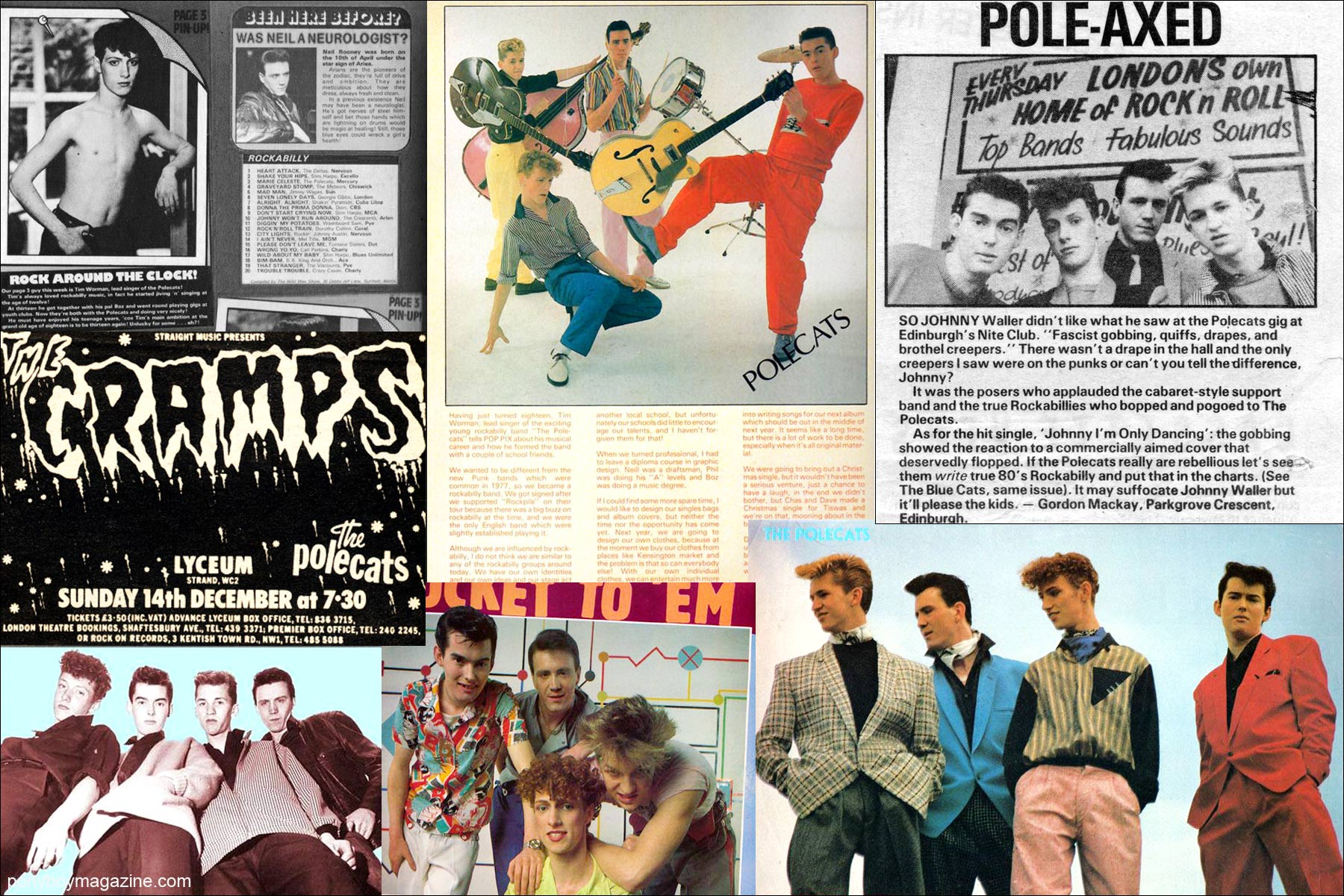 Press clippings of Tim Polecat and The Polecats. Ponyboy Magazine NY.