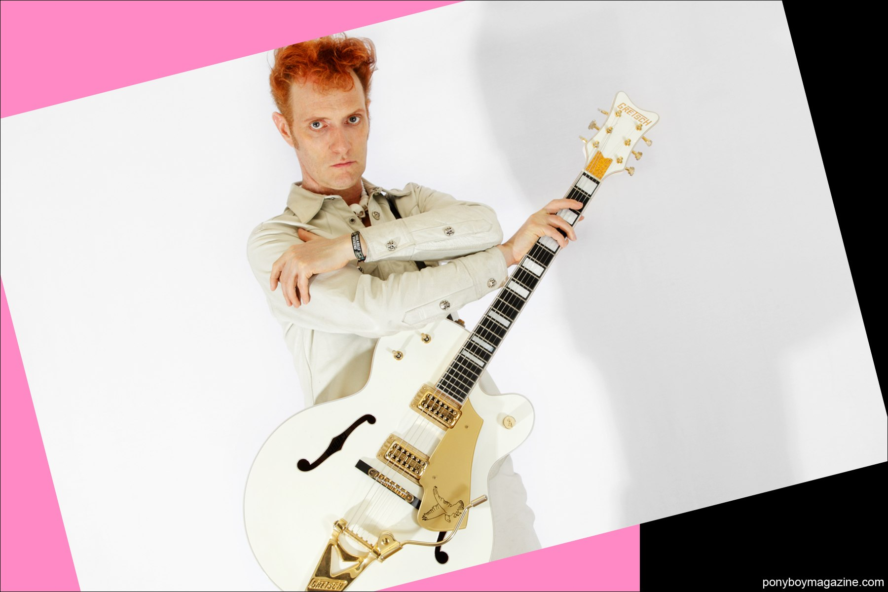 Red haired Polecats frontman Tim Polecat, photographed by Alexander Thompson for Ponyboy Magazine in New York City.