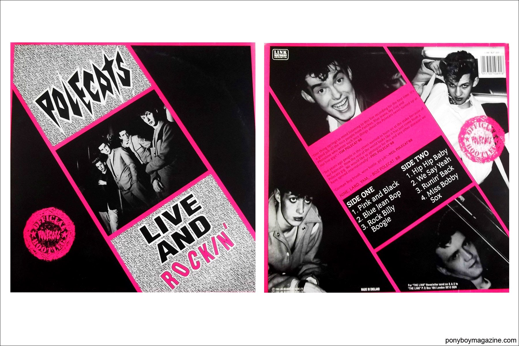 Old record covers for UK rockabilly band Polecats, fronted by Tim Polecat. Ponyboy Magazine in New York.