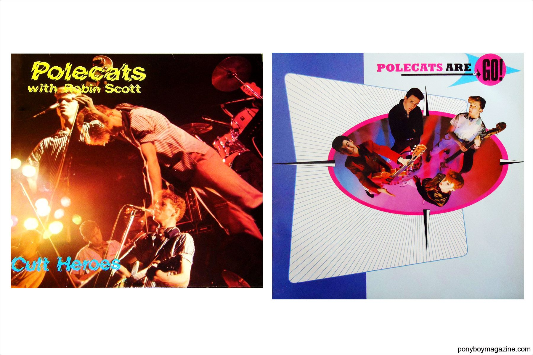 Record covers for UK 70's-80's rockabilly band Polecats. Ponyboy Magazine.