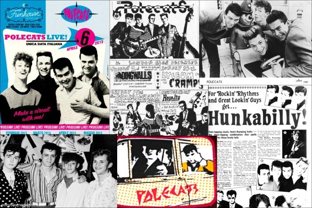 Old press clippings for rockabilly band Polecats. Ponyboy Magazine.