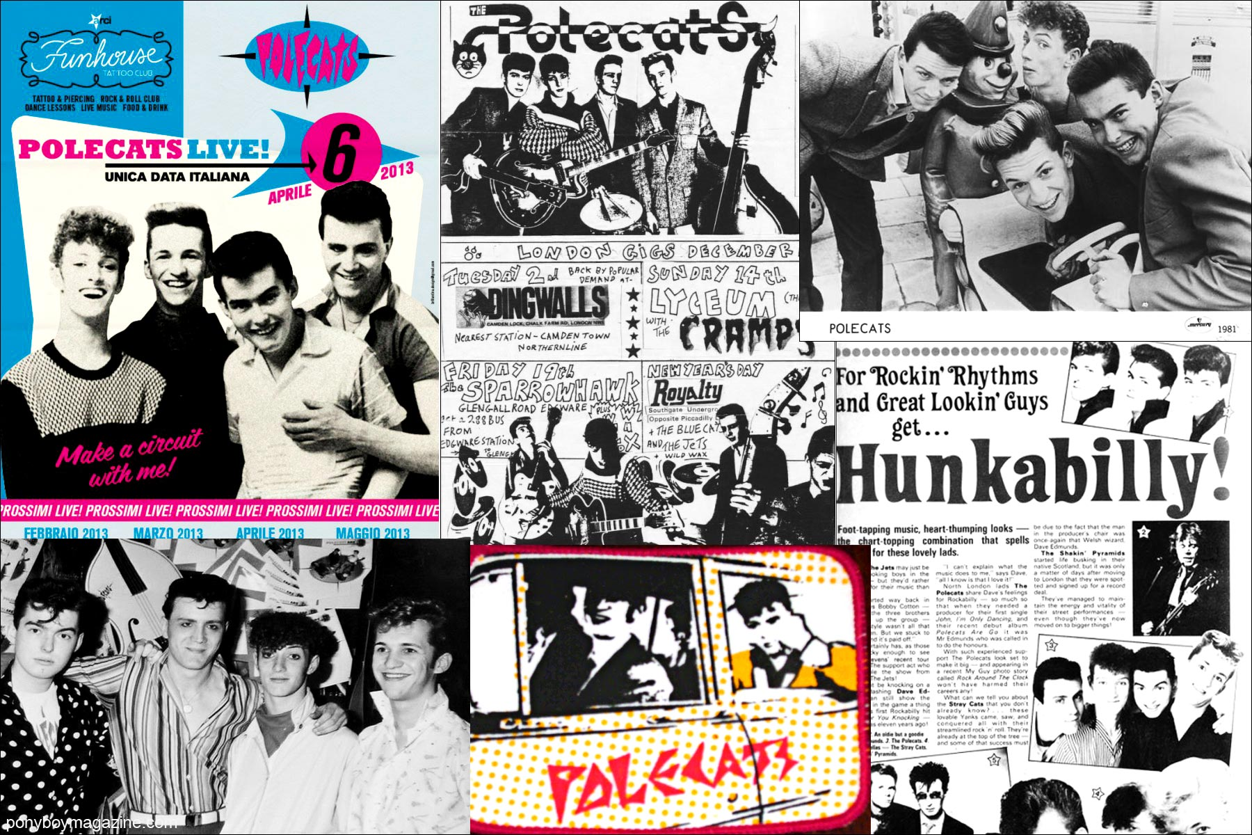 Old press clippings for neo-rockabilly band Polecats. Ponyboy Magazine.